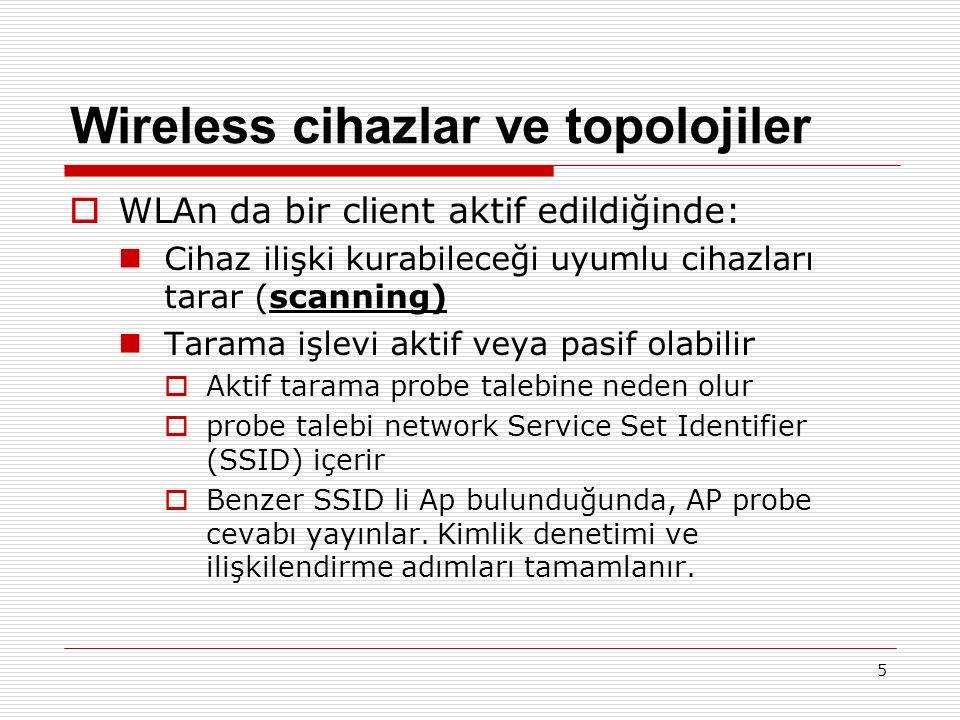 Wireless cihazlar ve topolojiler  WLAn da bir client aktif edildiğinde: Cihaz ilişki kurabileceği uyumlu cihazları tarar (scanning) Tarama işlevi aktif veya pasif olabilir  Aktif tarama probe talebine neden olur  probe talebi network Service Set Identifier (SSID) içerir  Benzer SSID li Ap bulunduğunda, AP probe cevabı yayınlar.