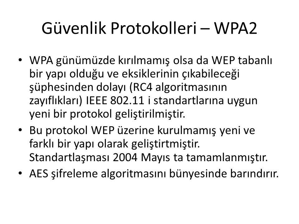 Güvenlik Protokolleri – WPA2 WPA günümüzde kırılmamış olsa da WEP tabanlı bir yapı olduğu ve eksiklerinin çıkabileceği şüphesinden dolayı (RC4 algorit