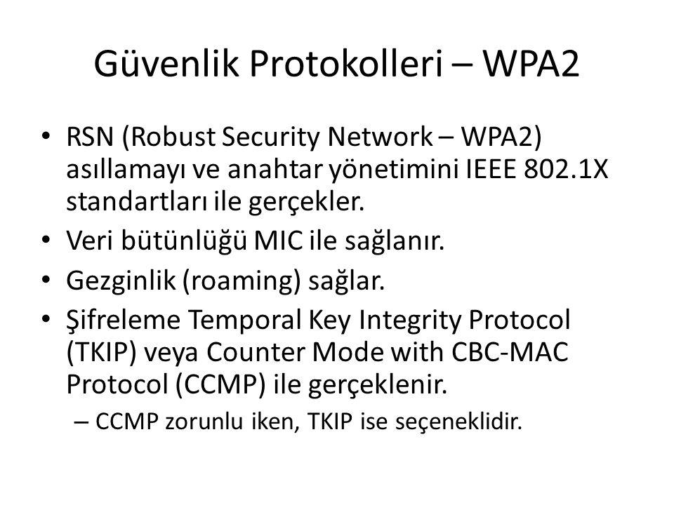Güvenlik Protokolleri – WPA2 RSN (Robust Security Network – WPA2) asıllamayı ve anahtar yönetimini IEEE 802.1X standartları ile gerçekler. Veri bütünl
