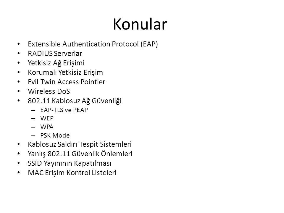 Konular Extensible Authentication Protocol (EAP) RADIUS Serverlar Yetkisiz Ağ Erişimi Korumalı Yetkisiz Erişim Evil Twin Access Pointler Wireless DoS