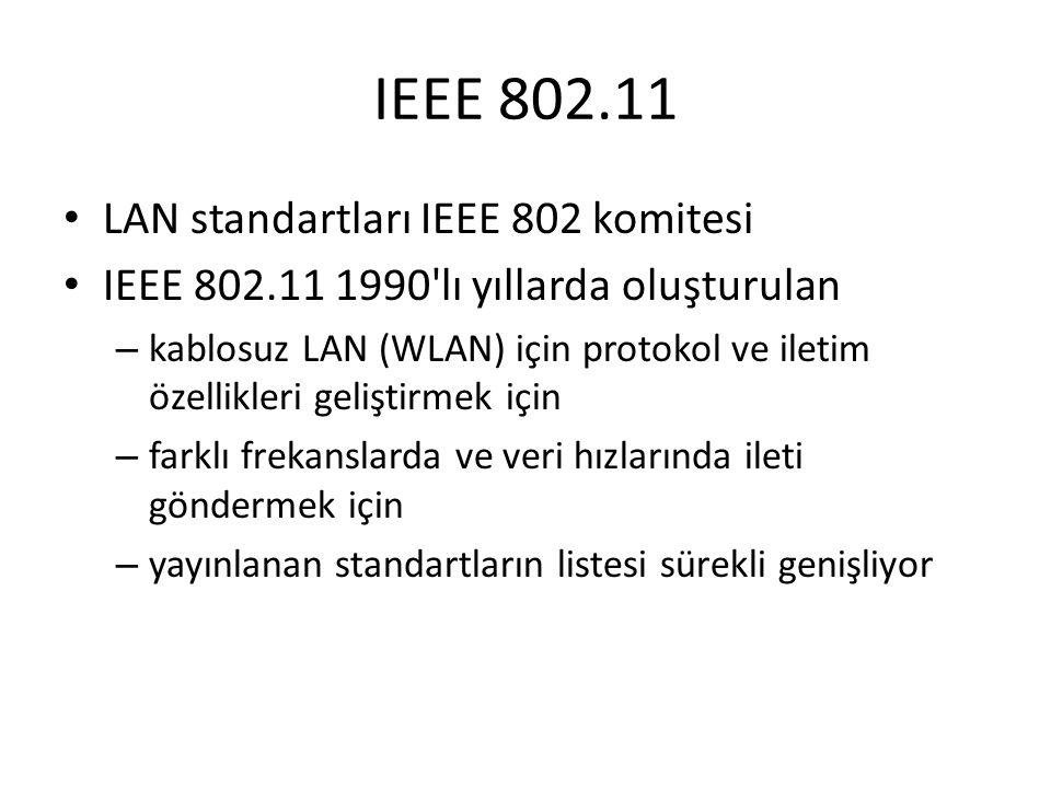 IEEE 802.11 LAN standartları IEEE 802 komitesi IEEE 802.11 1990'lı yıllarda oluşturulan – kablosuz LAN (WLAN) için protokol ve iletim özellikleri geli