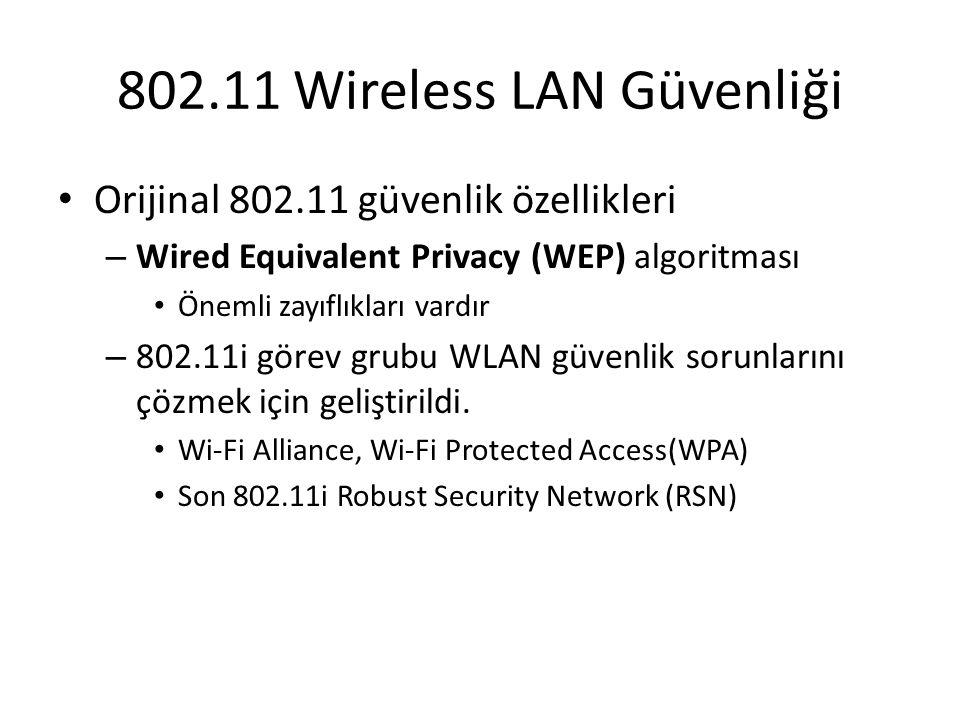 802.11 Wireless LAN Güvenliği Orijinal 802.11 güvenlik özellikleri – Wired Equivalent Privacy (WEP) algoritması Önemli zayıflıkları vardır – 802.11i g