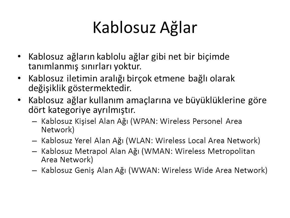 Kablosuz Ağlar Kablosuz ağların kablolu ağlar gibi net bir biçimde tanımlanmış sınırları yoktur. Kablosuz iletimin aralığı birçok etmene bağlı olarak
