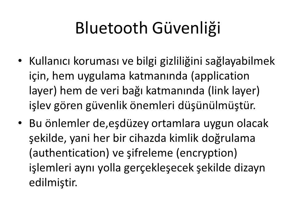 Bluetooth'a Yapılan Saldırılar Bluejacking Bluebugging Bluesnarfing Cabir Virüsü Car Whisperer Anahtarların Güvenilirsizliği Safer+ Algoritması Yetersizliği Aradaki adam problemi Tekrarlama Saldırısı Hizmet Engelleme Saldırısı