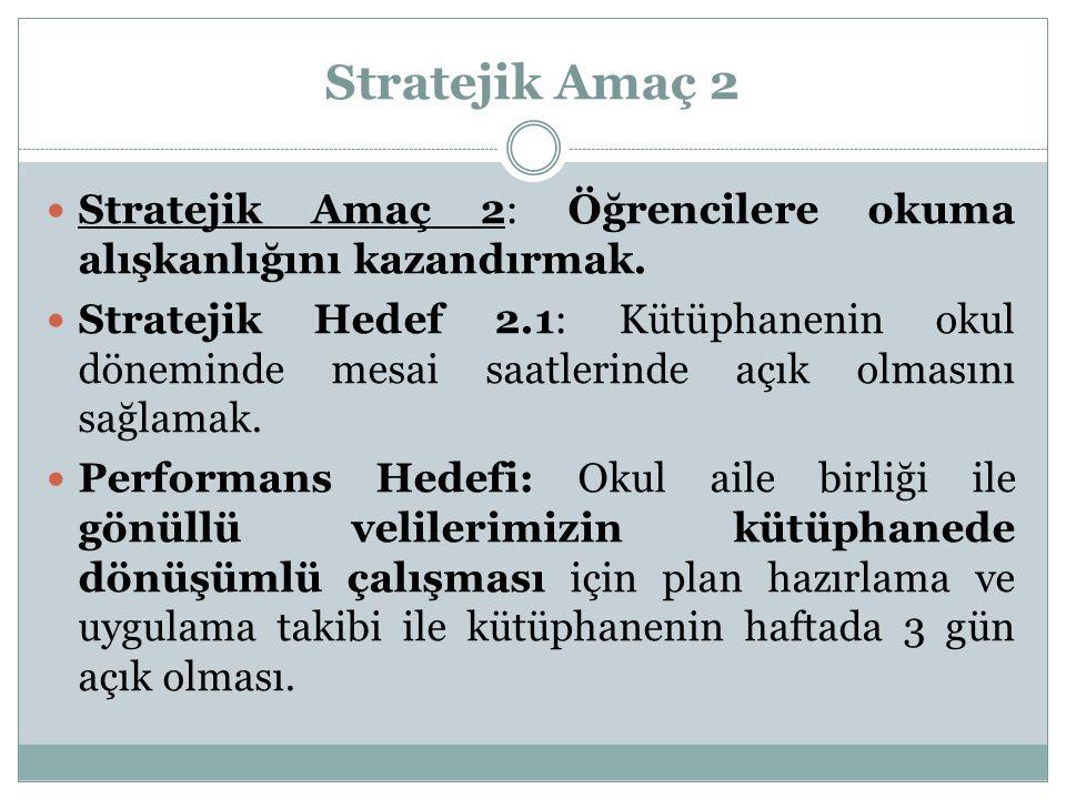 Stratejik Amaç 2 Stratejik Amaç 2: Öğrencilere okuma alışkanlığını kazandırmak. Stratejik Hedef 2.1: Kütüphanenin okul döneminde mesai saatlerinde açı