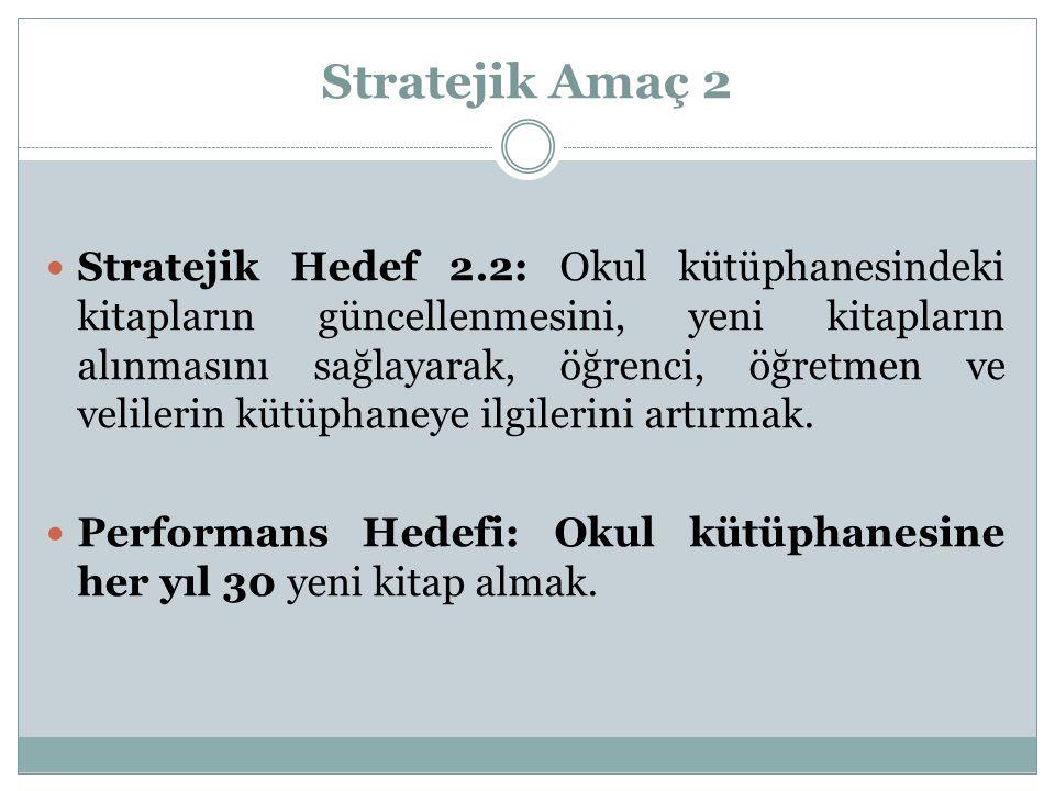 Stratejik Amaç 2 Stratejik Hedef 2.2: Okul kütüphanesindeki kitapların güncellenmesini, yeni kitapların alınmasını sağlayarak, öğrenci, öğretmen ve ve