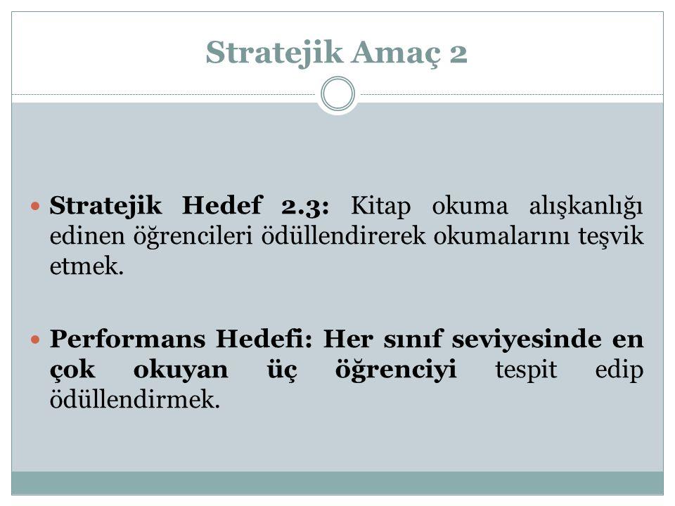 Stratejik Amaç 2 Stratejik Hedef 2.3: Kitap okuma alışkanlığı edinen öğrencileri ödüllendirerek okumalarını teşvik etmek. Performans Hedefi: Her sınıf