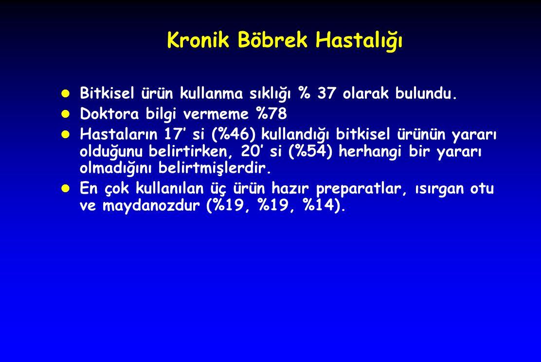 Kronik Böbrek Hastalığı l Bitkisel ürün kullanma sıklığı % 37 olarak bulundu.
