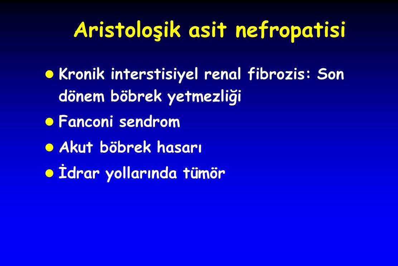Aristoloşik asit nefropatisi l Kronik interstisiyel renal fibrozis: Son dönem böbrek yetmezliği l Fanconi sendrom l Akut böbrek hasarı l İdrar yollarında tümör