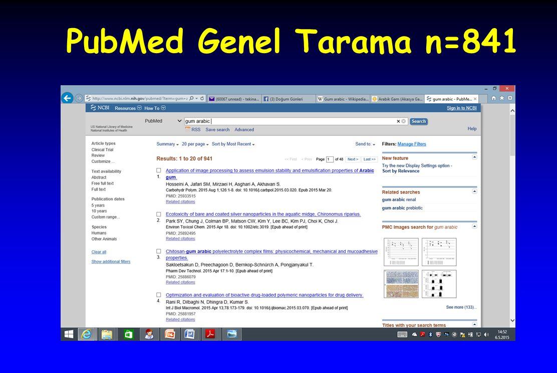 PubMed Genel Tarama n=841