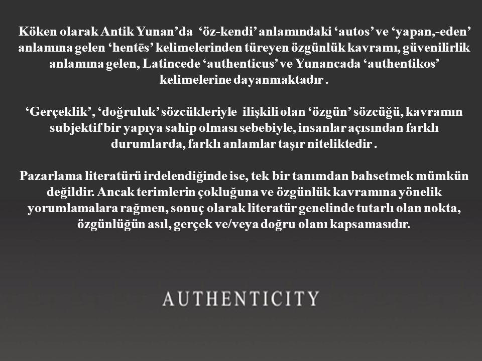 Köken olarak Antik Yunan'da 'öz-kendi' anlamındaki 'autos' ve 'yapan,-eden' anlamına gelen 'hentēs' kelimelerinden türeyen özgünlük kavramı, güvenilir