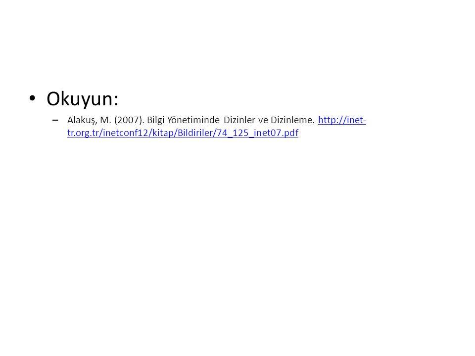 Okuyun: – Alakuş, M. (2007). Bilgi Yönetiminde Dizinler ve Dizinleme.