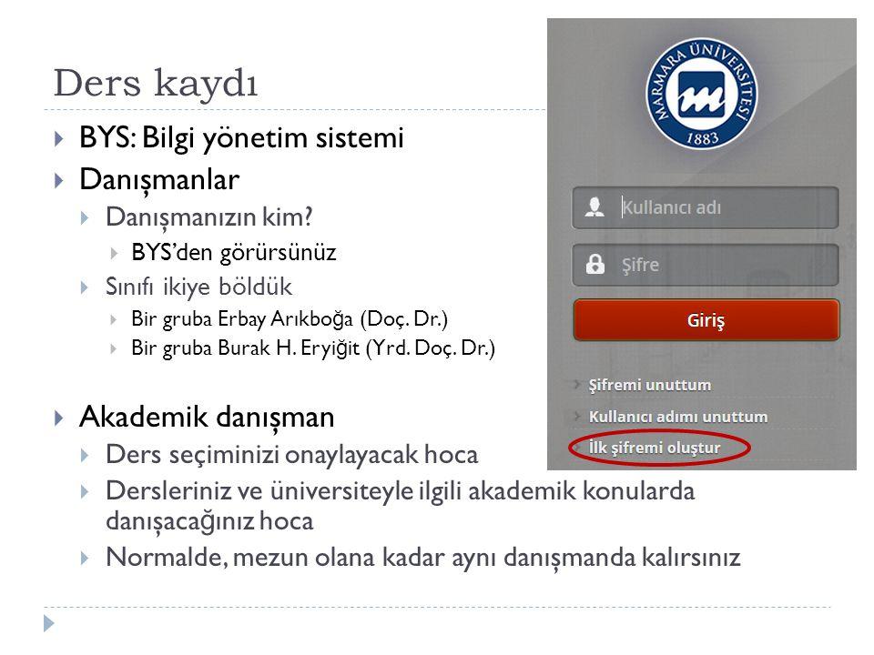 Ders kaydı  BYS: Bilgi yönetim sistemi  Danışmanlar  Danışmanızın kim.