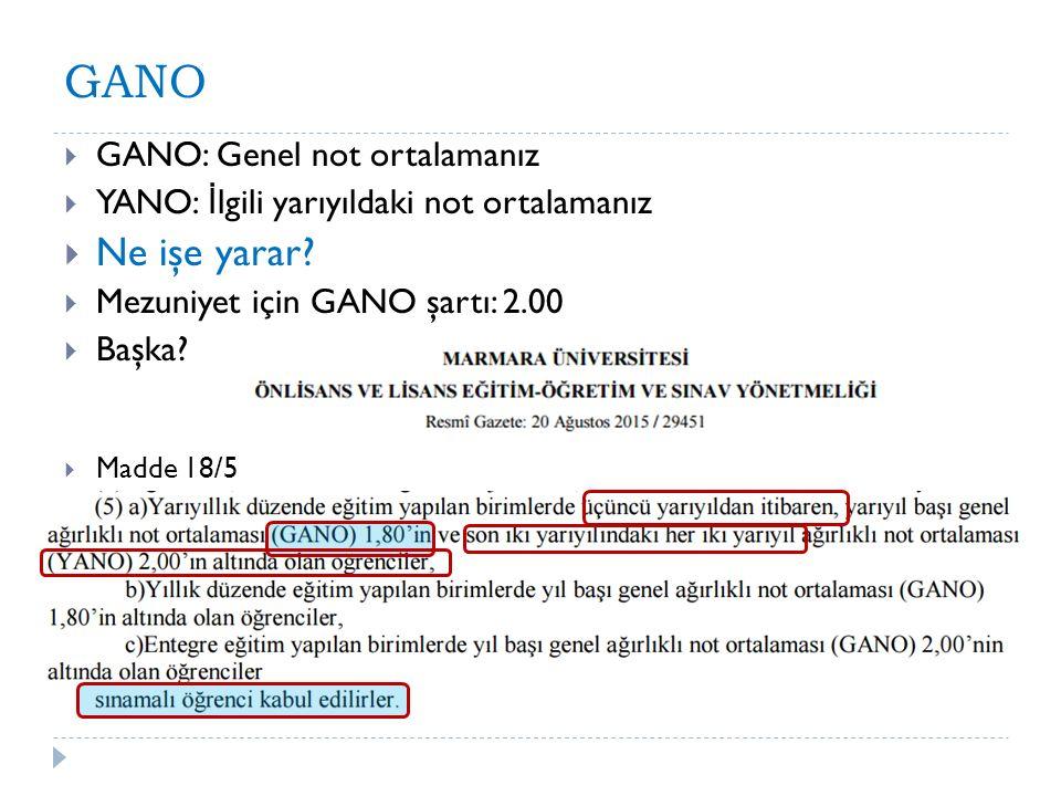 GANO  GANO: Genel not ortalamanız  YANO: İ lgili yarıyıldaki not ortalamanız  Ne işe yarar?  Mezuniyet için GANO şartı: 2.00  Başka?  Madde 18/5