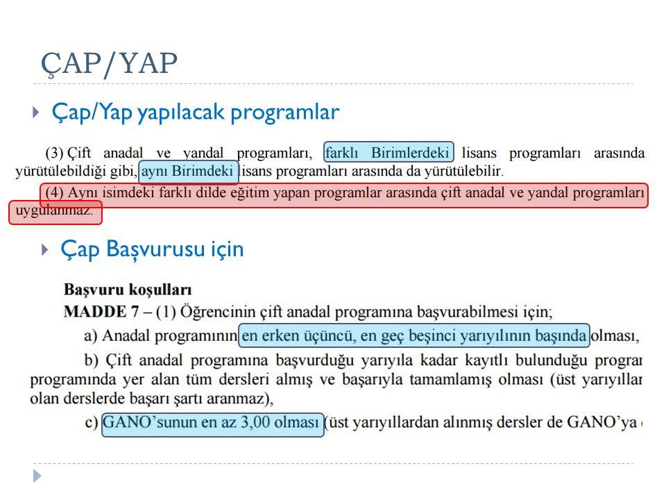 ÇAP/YAP  Çap Başvurusu için  Çap/Yap yapılacak programlar