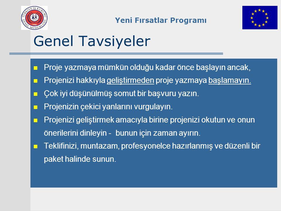 Yeni Fırsatlar Programı Başvuru Formunun Yapısı I.