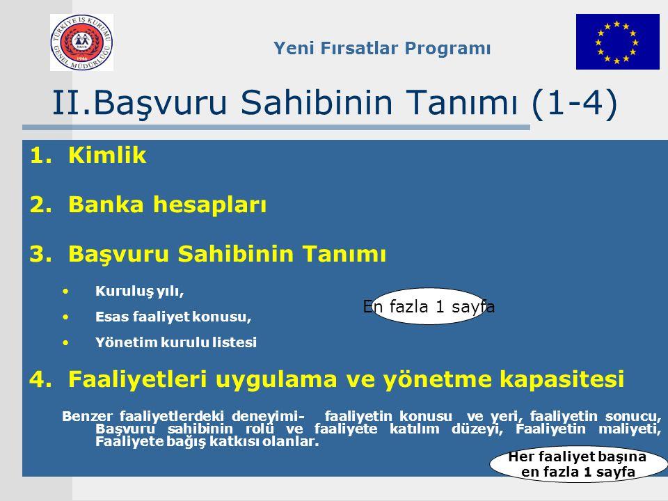 Yeni Fırsatlar Programı II.Başvuru Sahibinin Tanımı (1-4) 1.Kimlik 2.Banka hesapları 3.Başvuru Sahibinin Tanımı Kuruluş yılı, Esas faaliyet konusu, Yö