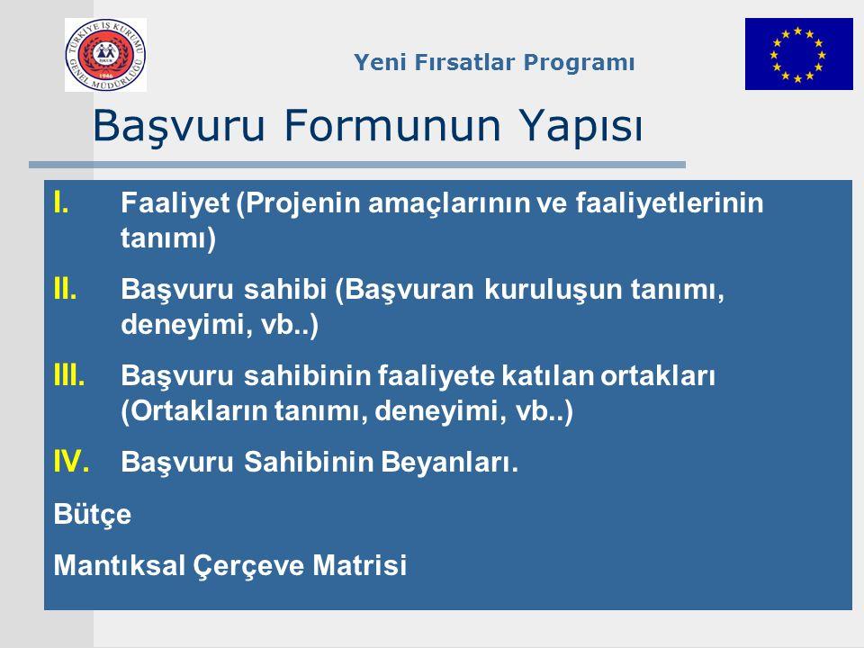 Yeni Fırsatlar Programı Başvuru Formunun Yapısı I. Faaliyet (Projenin amaçlarının ve faaliyetlerinin tanımı) II. Başvuru sahibi (Başvuran kuruluşun ta