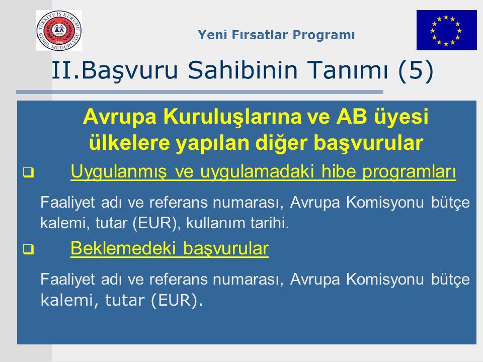 Yeni Fırsatlar Programı II.Başvuru Sahibinin Tanımı (5) Avrupa Kuruluşlarına ve AB üyesi ülkelere yapılan diğer başvurular  Uygulanmış ve uygulamadak