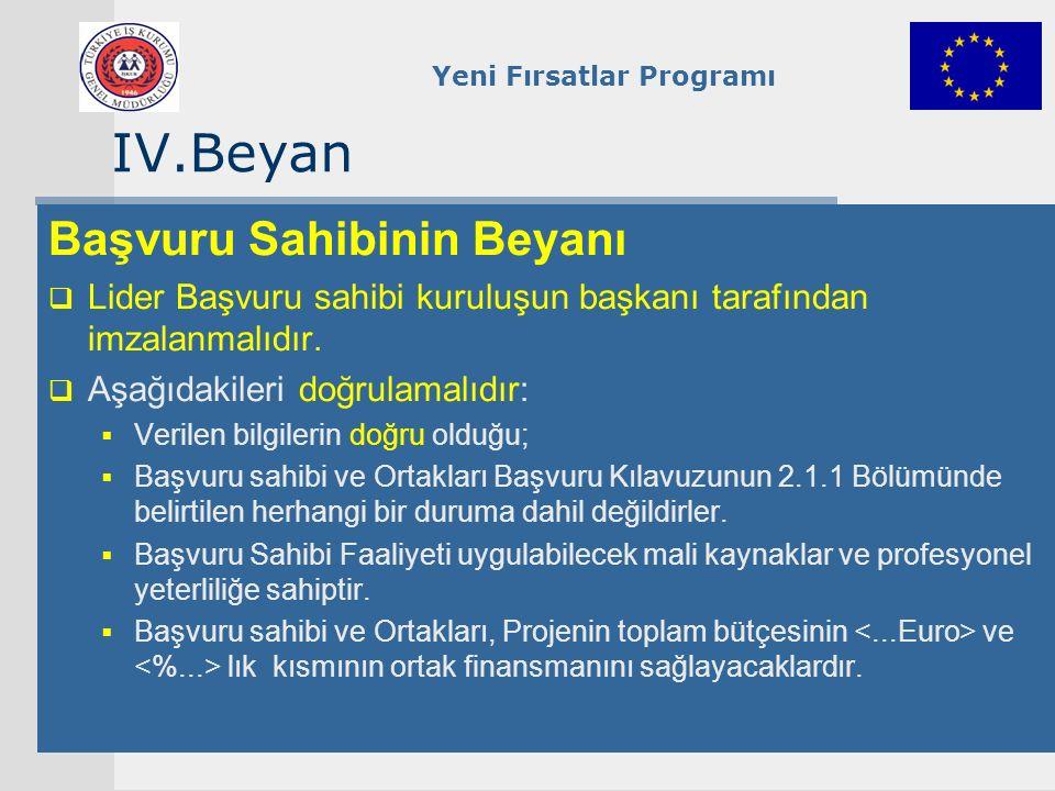 Yeni Fırsatlar Programı IV.Beyan Başvuru Sahibinin Beyanı  Lider Başvuru sahibi kuruluşun başkanı tarafından imzalanmalıdır.  Aşağıdakileri doğrulam