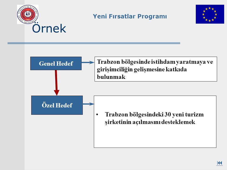 Yeni Fırsatlar Programı Örnek Trabzon bölgesindeki 30 yeni turizm şirketinin açılmasını desteklemek Genel Hedef Özel Hedef Trabzon bölgesinde istihdam