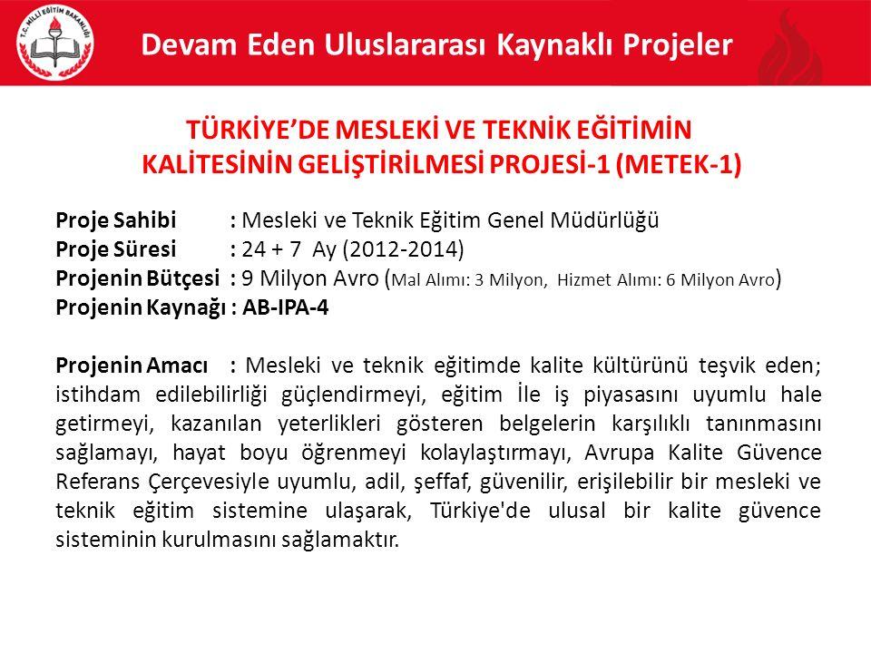 Proje Sahibi: Mesleki ve Teknik Eğitim Genel Müdürlüğü Proje Süresi: 24 + 7 Ay (2012-2014) Projenin Bütçesi : 9 Milyon Avro ( Mal Alımı: 3 Milyon, Hiz