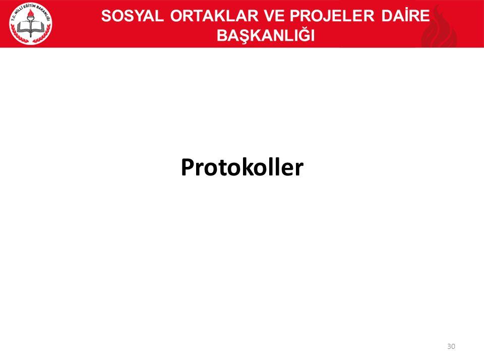 Protokoller 30 SOSYAL ORTAKLAR VE PROJELER DAİRE BAŞKANLIĞI