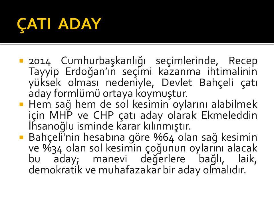  2014 Cumhurbaşkanlığı seçimlerinde, Recep Tayyip Erdoğan'ın seçimi kazanma ihtimalinin yüksek olması nedeniyle, Devlet Bahçeli çatı aday formlümü ortaya koymuştur.