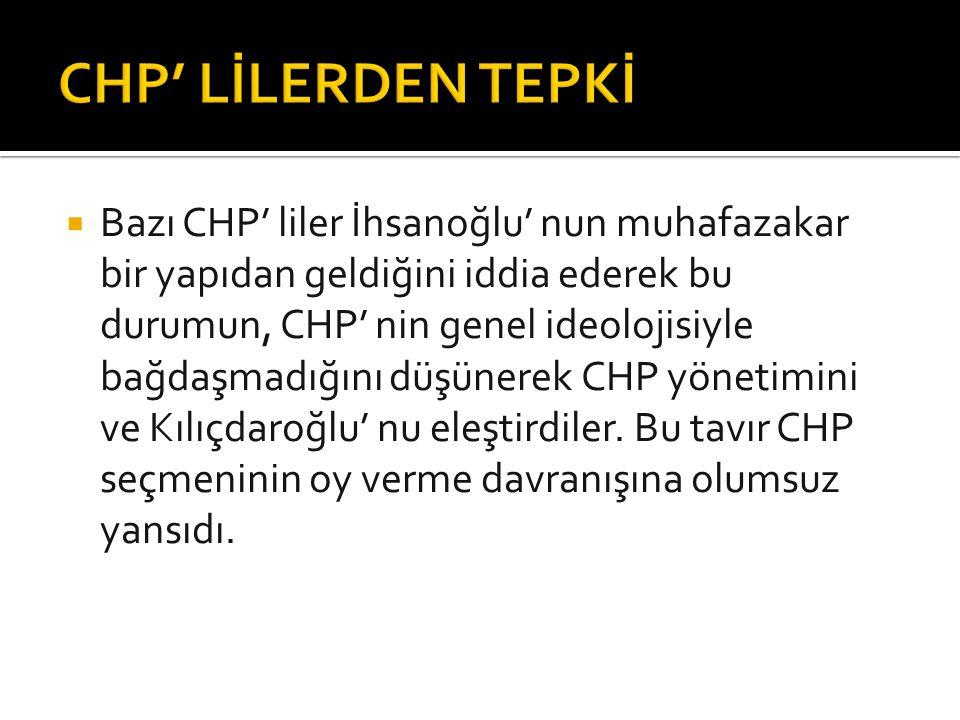  Bazı CHP' liler İhsanoğlu' nun muhafazakar bir yapıdan geldiğini iddia ederek bu durumun, CHP' nin genel ideolojisiyle bağdaşmadığını düşünerek CHP yönetimini ve Kılıçdaroğlu' nu eleştirdiler.
