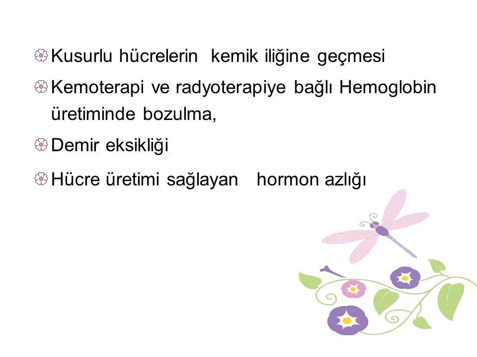  Kusurlu hücrelerin kemik iliğine geçmesi  Kemoterapi ve radyoterapiye bağlı Hemoglobin üretiminde bozulma,  Demir eksikliği  Hücre üretimi sağlayan hormon azlığı
