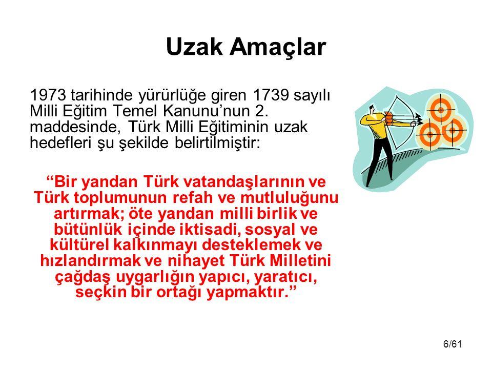 6/61 Uzak Amaçlar 1973 tarihinde yürürlüğe giren 1739 sayılı Milli Eğitim Temel Kanunu'nun 2. maddesinde, Türk Milli Eğitiminin uzak hedefleri şu şeki