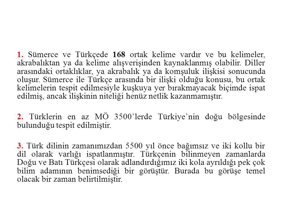 1. Sümerce ve Türkçede 168 ortak kelime vardır ve bu kelimeler, akrabalıktan ya da kelime alışverişinden kaynaklanmış olabilir. Diller arasındaki orta