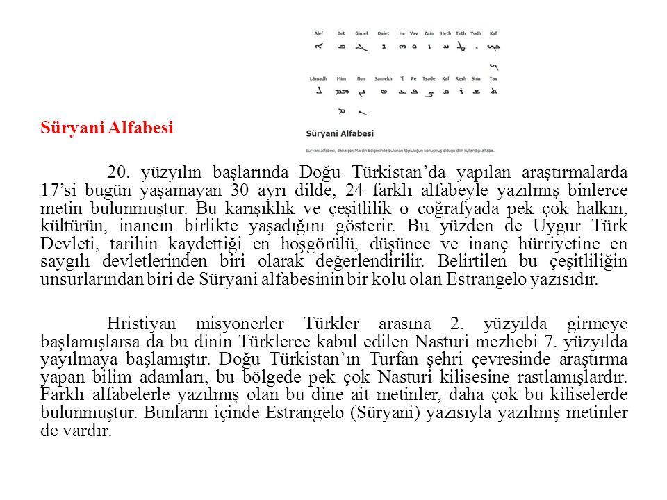 Süryani Alfabesi 20. yüzyılın başlarında Doğu Türkistan'da yapılan araştırmalarda 17'si bugün yaşamayan 30 ayrı dilde, 24 farklı alfabeyle yazılmış bi