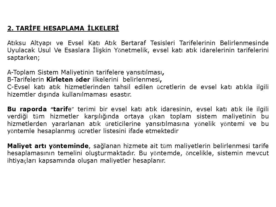 Tarife hesaplamasında şu adımlar izlenmiştir: Hizmetin kapsamı tanımlanmıştır.