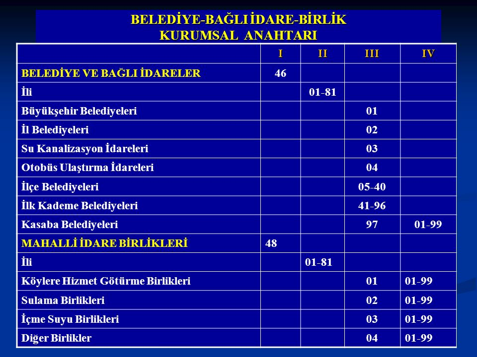 BELEDİYE-BAĞLI İDARE-BİRLİK KURUMSAL ANAHTARI IIIIIIIV BELEDİYE VE BAĞLI İDARELER46 İli01-81 Büyükşehir Belediyeleri01 İl Belediyeleri02 Su Kanalizasy