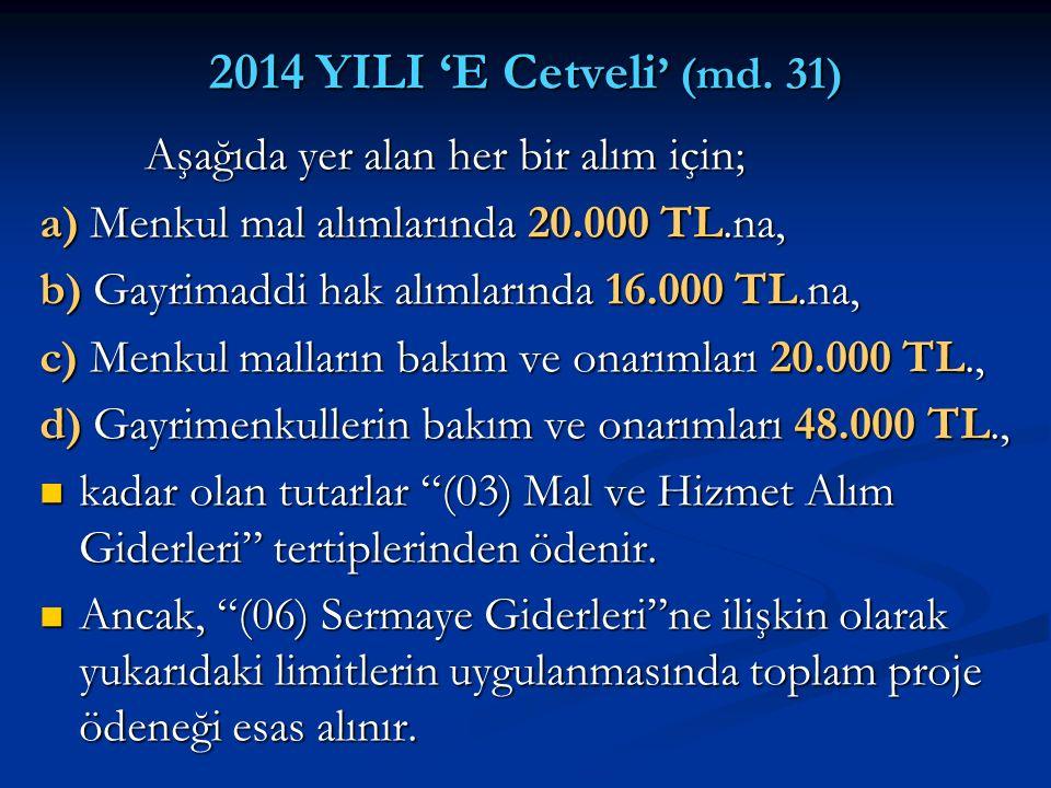 2014 YILI 'E Cetveli ' (md. 31) Aşağıda yer alan her bir alım için; Aşağıda yer alan her bir alım için; a) Menkul mal alımlarında 20.000 TL.na, b) Gay