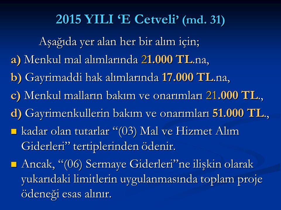 2015 YILI 'E Cetveli ' (md. 31) Aşağıda yer alan her bir alım için; Aşağıda yer alan her bir alım için; a) Menkul mal alımlarında 21.000 TL.na, b) Gay