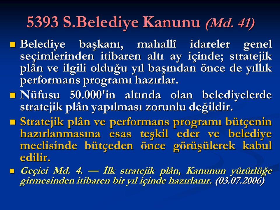 5393 S.Belediye Kanunu (Md. 41) Belediye başkanı, mahallî idareler genel seçimlerinden itibaren altı ay içinde; stratejik plân ve ilgili olduğu yıl ba