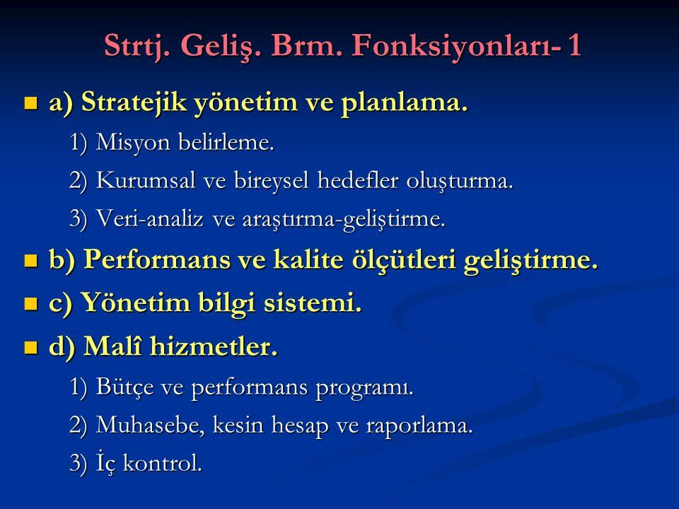 Strtj. Geliş. Brm. Fonksiyonları- 1 a) Stratejik yönetim ve planlama. a) Stratejik yönetim ve planlama. 1) Misyon belirleme. 1) Misyon belirleme. 2) K
