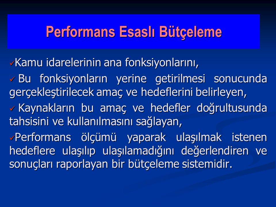 Performans Esaslı Bütçeleme Kamu idarelerinin ana fonksiyonlarını, Kamu idarelerinin ana fonksiyonlarını, Bu fonksiyonların yerine getirilmesi sonucun