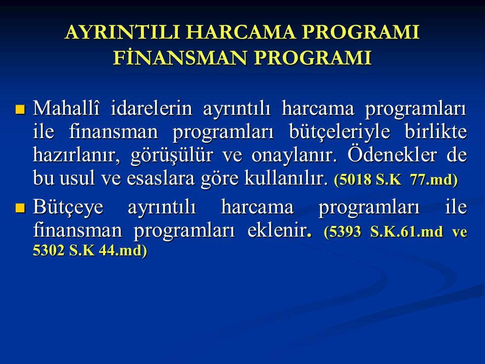 AYRINTILI HARCAMA PROGRAMI FİNANSMAN PROGRAMI Mahallî idarelerin ayrıntılı harcama programları ile finansman programları bütçeleriyle birlikte hazırla