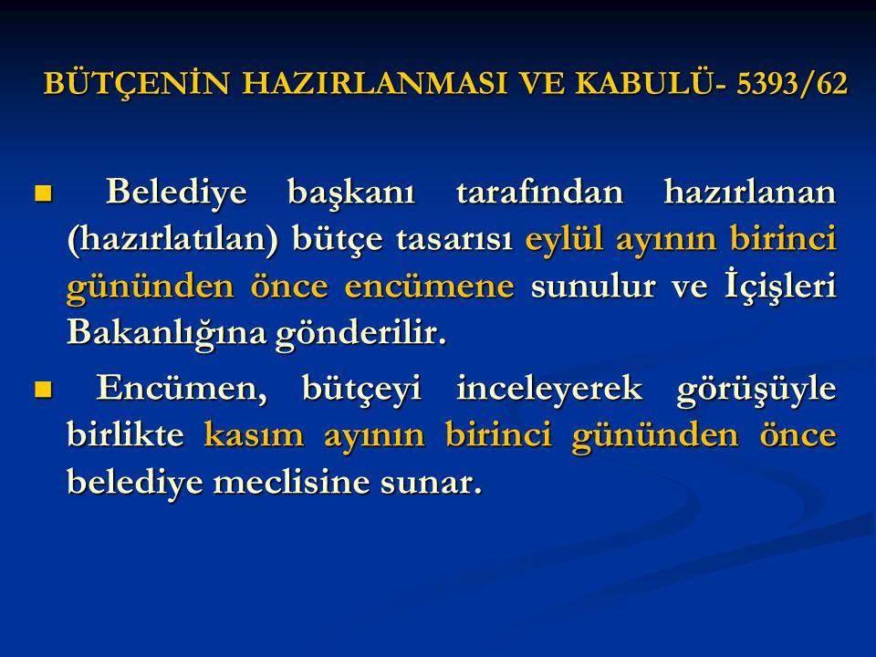 BÜTÇENİN HAZIRLANMASI VE KABULÜ- 5393/62 Belediye başkanı tarafından hazırlanan (hazırlatılan) bütçe tasarısı eylül ayının birinci gününden önce encüm