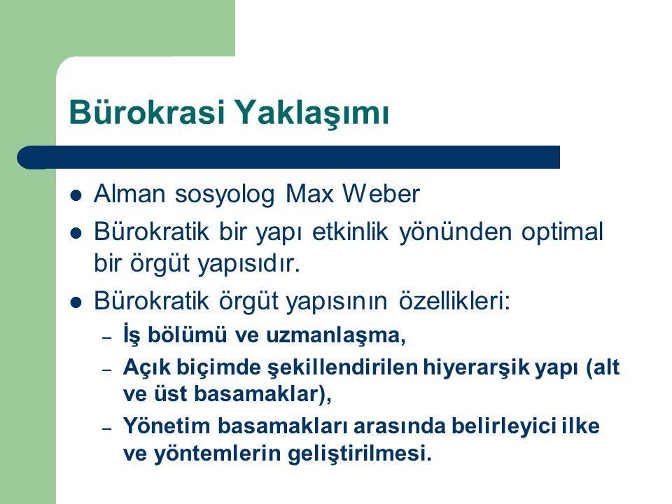 Bürokrasi Yaklaşımı Alman sosyolog Max Weber Bürokratik bir yapı etkinlik yönünden optimal bir örgüt yapısıdır. Bürokratik örgüt yapısının özellikleri