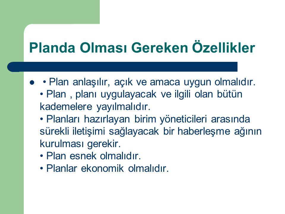 Planda Olması Gereken Özellikler Plan anlaşılır, açık ve amaca uygun olmalıdır. Plan, planı uygulayacak ve ilgili olan bütün kademelere yayılmalıdır.
