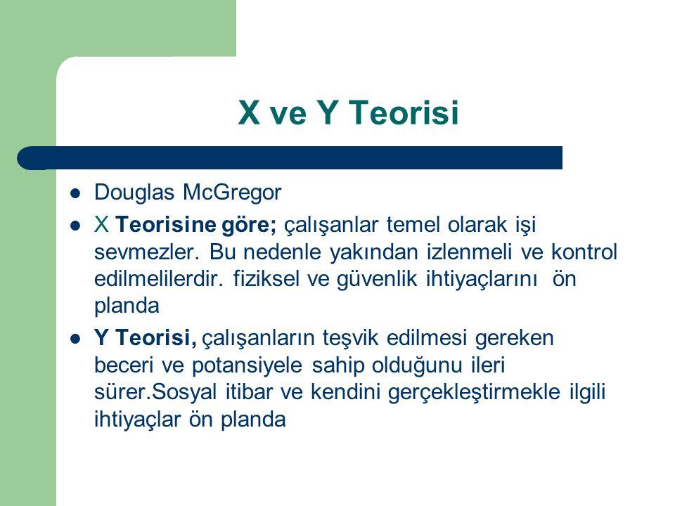 X ve Y Teorisi Douglas McGregor X Teorisine göre; çalışanlar temel olarak işi sevmezler. Bu nedenle yakından izlenmeli ve kontrol edilmelilerdir. fizi