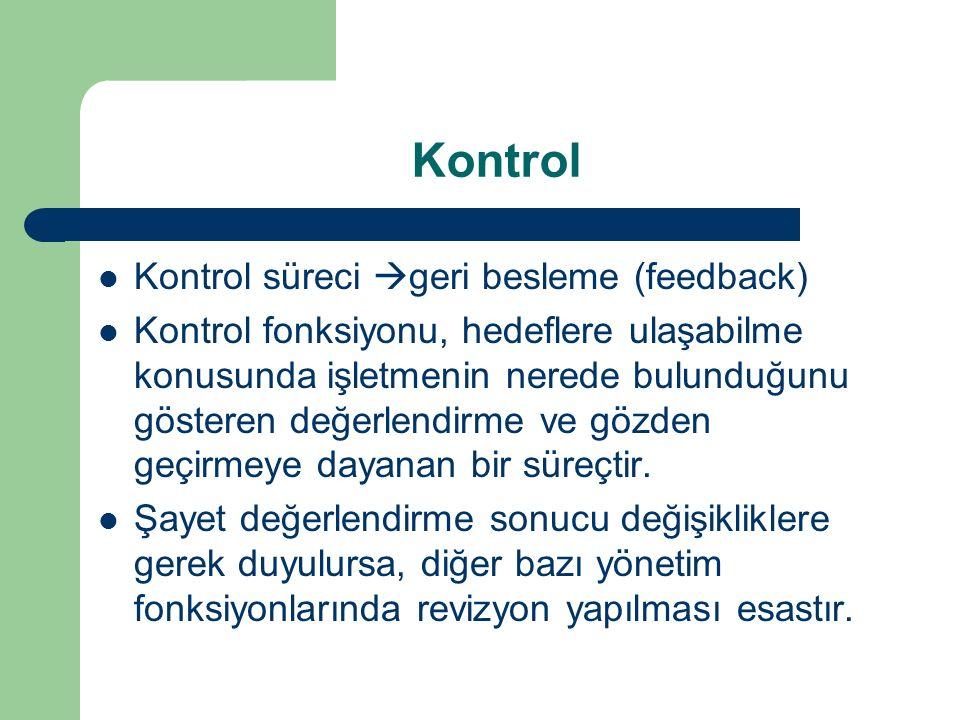 Kontrol Kontrol süreci  geri besleme (feedback) Kontrol fonksiyonu, hedeflere ulaşabilme konusunda işletmenin nerede bulunduğunu gösteren değerlendir