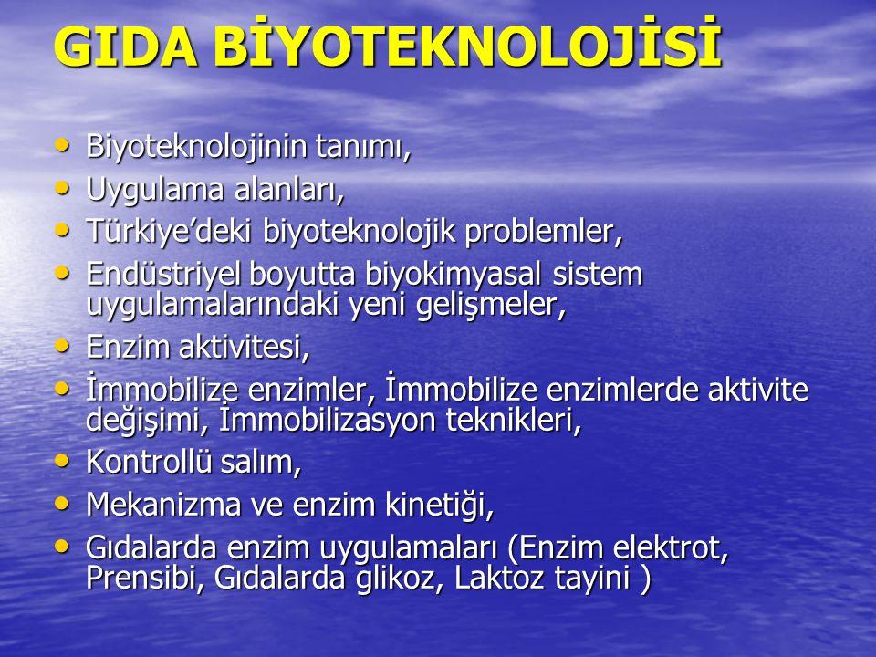 GIDA BİYOTEKNOLOJİSİ Biyoteknolojinin tanımı, Biyoteknolojinin tanımı, Uygulama alanları, Uygulama alanları, Türkiye'deki biyoteknolojik problemler, T