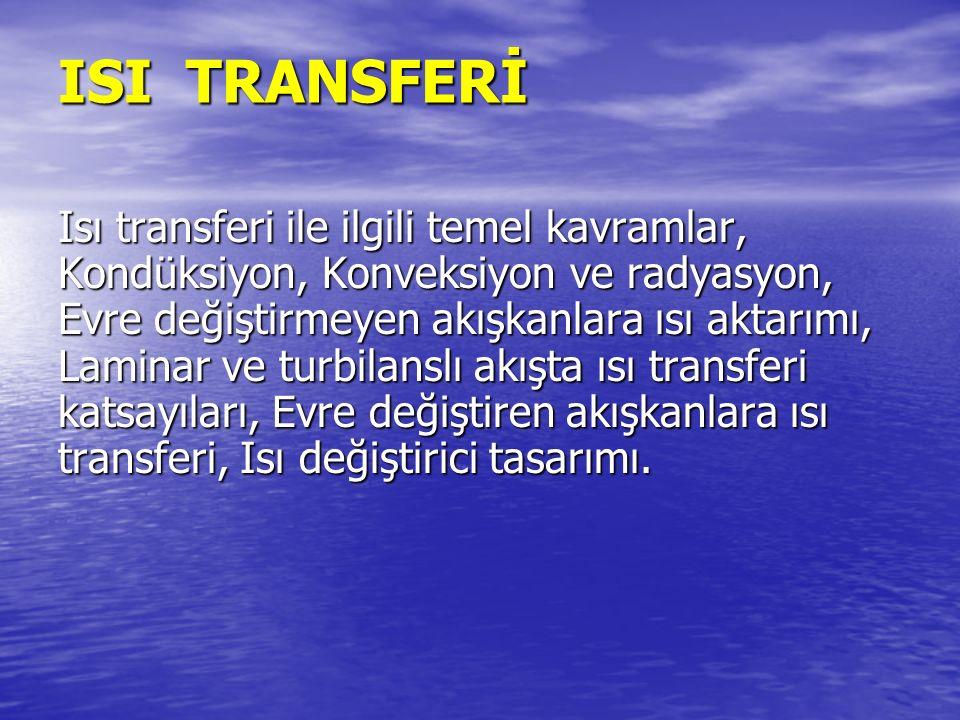 ISI TRANSFERİ Isı transferi ile ilgili temel kavramlar, Kondüksiyon, Konveksiyon ve radyasyon, Evre değiştirmeyen akışkanlara ısı aktarımı, Laminar ve