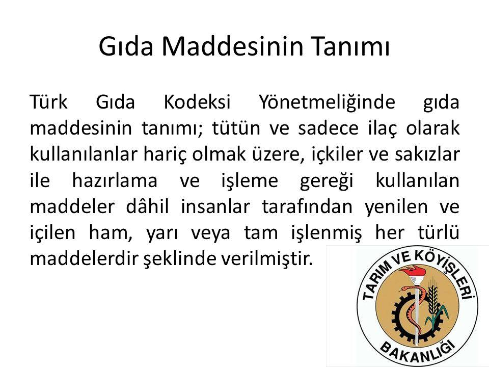 Gıda Maddesinin Tanımı Türk Gıda Kodeksi Yönetmeliğinde gıda maddesinin tanımı; tütün ve sadece ilaç olarak kullanılanlar hariç olmak üzere, içkiler v