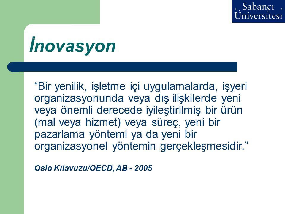 """İnovasyon """"Bir yenilik, işletme içi uygulamalarda, işyeri organizasyonunda veya dış ilişkilerde yeni veya önemli derecede iyileştirilmiş bir ürün (mal"""